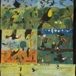 Le chant du toucan, 4 pièces de 60cm x 60cm assemblés, acrylique sur toile