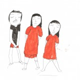 lucile moulins 6 2 filles et 1 garçon  en rouge