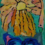 l'oiseau de soleil plonge dans la mer
