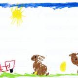 11 - Les animaux de la ferme à côté du tracteur