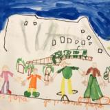 5 - Robinson a visité l'Eiger. On voit la famille au premier plan et au loin, les traces d'avalanches, le train et l'hélicoptère