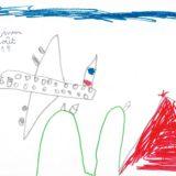 9 - L'avion avec le drapeau Français survole les Alpes.
