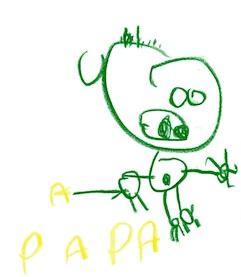 7 - Paul dessine son papa et écrit PAPA