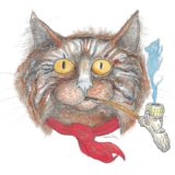 Chat fumeur de pipe