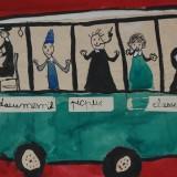 nous sortons de l'école et nous prenons l'autobus