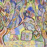 La Maison dans les arbres, collection Freinet, 1957, gouache sur papier agraffée sur carton,48x64.5 cm, Musée d'arts de Nantes