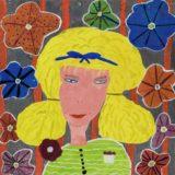 Portrait de jeune fille, 7 ans, collection Freinet, gouache sur papier posée sur carton, 1962, 32.2x32.2 cm, musée d'arts de Nantes